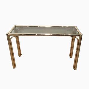 Table Console en Faux Bambou et Dorure, 1970s