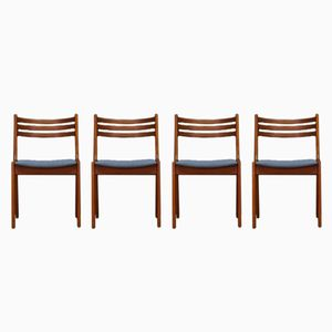 Vintage Danish Teak Veneer Dining Chairs, Set of 4