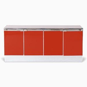 Aparador de cromo lacado en rojo, años 60