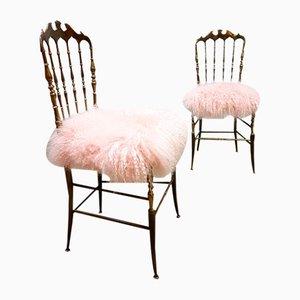 Mid-Century Chiavari Stühle aus Messing, 2er Set
