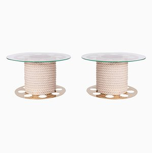 Circular Brass Side Tables from Paco Rabanne, 1980s