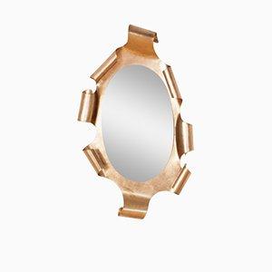Specchio vintage con cornice dorata, anni '50