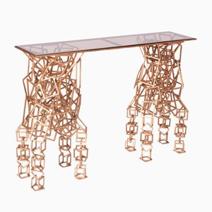 Handcrafted Gilded Iron Console Table