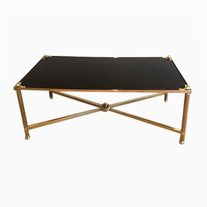 Neoclassical Brass & Black Lacquered Glass Coffee Table from Maison Jansen, 1940s