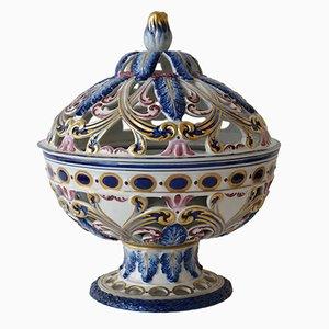 French Hand-Painted Porcelain Potpourri Bowl, 1950s