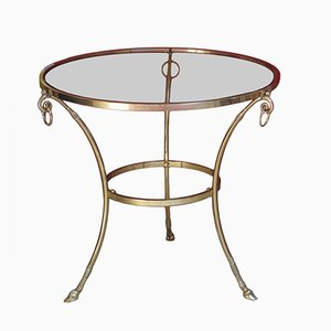 Large Vintage Brass Gueridon Occasional Table