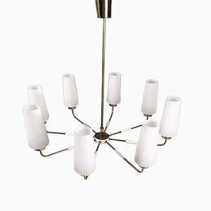 Lámpara de araña modernista grande de latón , años 50