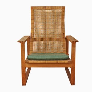 Mid-Century Oak & Cane Model 2254 Armchair by Borge Mogensen for Federicia