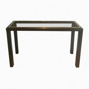 Gun Metal & Brass Console Table by Guy Lefèvre, 1970s