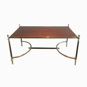 Brass, Wood & Brushed Metal Coffee Table from Maison Jansen, 1940s