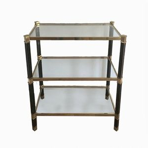 Brass & Black Lucite Console Table, 1960s
