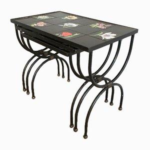 Mid-Century Ceramic & Iron Nesting Tables