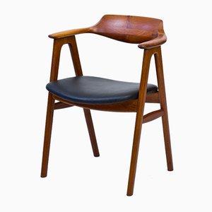 Silla de escritorio de teca y cuero de Erik Kierkegaard para Høng Stolefabrik, años 50