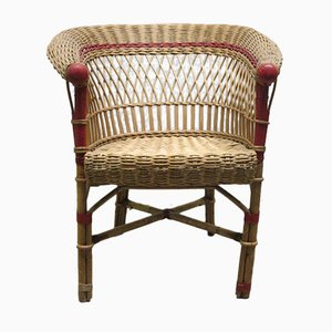 Vintage Rattan Bi-Colored Garden Chair, 1930s