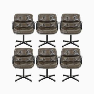 Chaises de Bureau Vintage en Cuir par Charles Pollock pour Knoll International, Set de 6