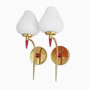 Französische vergoldete Messing & Glas Wandlampen, 1950er, 2er Set