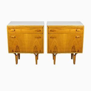 Nightstands with White Glass Tops from Novy Domov, Set of 2
