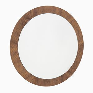 Mid-Century Danish Veneered Round Wall Mirror, 1960s