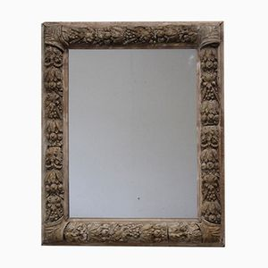 Antique Glass and Wood Wall Mirror