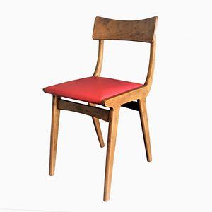 Sillas italianas de madera y cuero rojo, años 50. Juego de 2