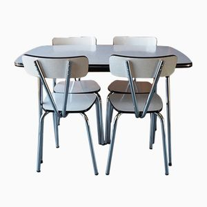 Vintage Chrome & White Formica Dining Table Set, 1960s