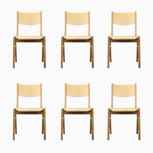 Mid-Century Plywood and Birch Stacking Chairs, 1960s, Set of 6