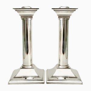 Versilberte vintage Kerzenhalter in Pfeiler Optik, 2er Set
