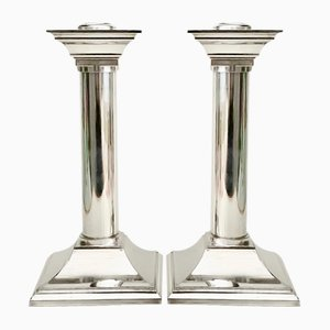 Vintage Silver-Plated Column Candleholders, Set of 2