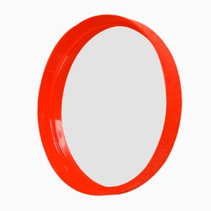 Specchio rosso circolare di Pierre Guariche per Meurop, anni '70
