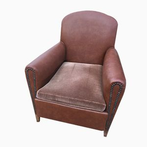 Vintage French Leather Club Chair with Velvet Seat