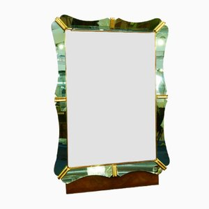 Italian Mirror with Green Glass Frame & Coat Hooks from Fontana Arte, 1940s