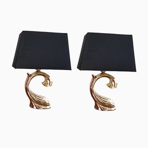 Brass Hollywood Regency Table Lamps from Regina, 1970s, Set of 2