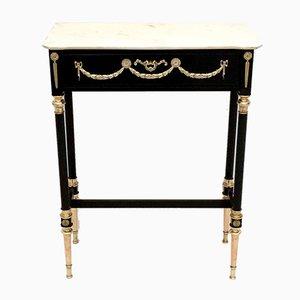 Mesa consola de madera lacada con tablero de mármol de Carrara, años 50