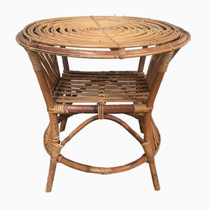 Italian Bamboo and Rattan Side Table, 1960s