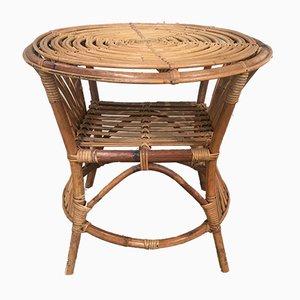 Tavolino in bambù e vimini, Italia, anni '60