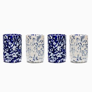 Macchia su Macchia Ivory & Blue Glasses by Stories of Italy, Set of 4