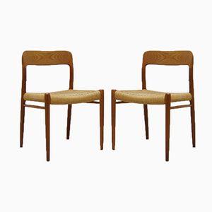 Modell No. 75 Esszimmerstühle von Niels O. Møller für J.L. Møllers, 2er Set