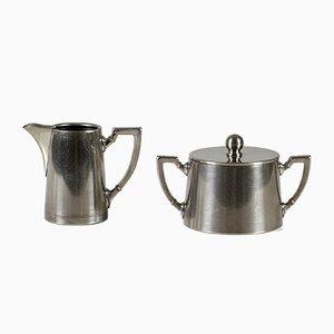 Bauhaus Tableware Set with Sugar Bowl & Milk Jug from Fleitmann und Witte, 1930s