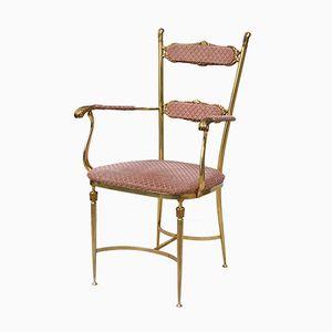 Boudoir Stuhl aus massivem Messing, 1950er