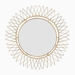 Espejo convexo articulado francés de latón, años 50