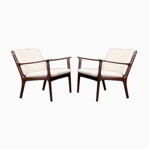PJ112 Lounge Chairs by Ole Wanscher for Poul Jeppesens, 1960s, Set of 2