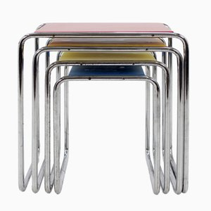Bauhaus B9 Chrome Nesting Tables by Marcel Breuer, 1930s