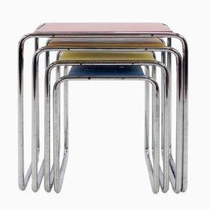 Mesas nido Bauhaus B9 de metal cromado de Marcel Breuer, años 30