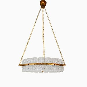 Mid-Century Swedish Glass & Brass Ceiling Lamp, 1960s