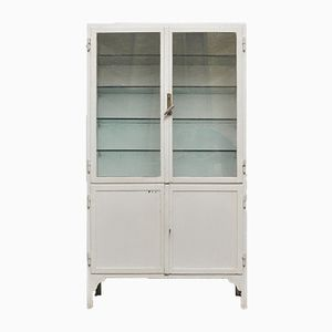 Vintage Industrial Steel & Glass Cabinet, 1940s