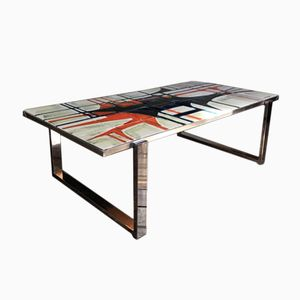 Mid-Century Abstract Tiled Chrome Coffee Table By DeNisco