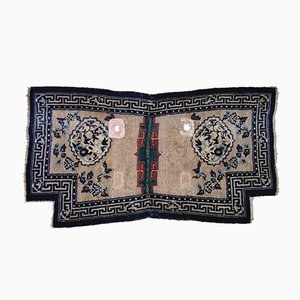 Antique Tibetan Hand-Knotted Saddle Carpet with Tang & Song Dynasty Pattern