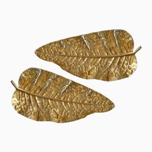 Bandejas italianas Mid-Century en forma de hoja de bronce. Juego de 2