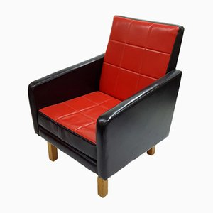 Hungarian Black and Red Leatherette Armchair, 1960s