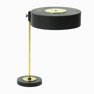 Vintage Czech Brass & Black Metal Table Lamp, 1950s